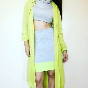 Theory gray color block skirt